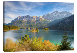 Canvas print  Autumn at the Eibsee with a view to the Zugspitze - Michael Valjak