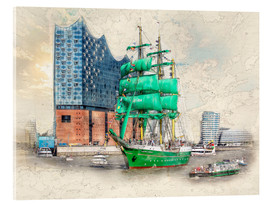 Acrylic print  Hamburg Elbphilharmonie with the sailing ship Alexander von Humboldt - Peter Roder