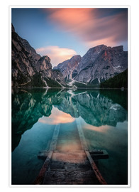 Premium poster Lago di Braies just before sunset
