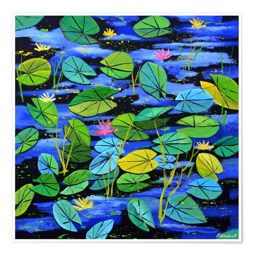 Premium poster Water lilies in the pond