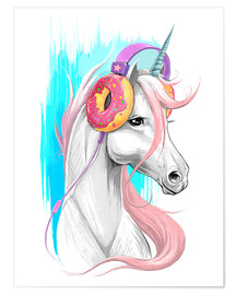 Premium poster Unicorn with headphones