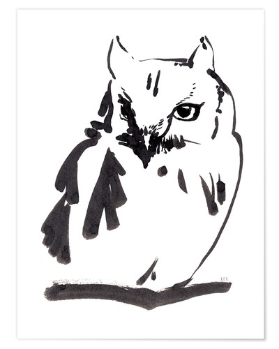 Premium poster Owl ink drawing