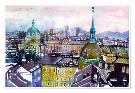 Premium poster Vienna, view to the Karls church