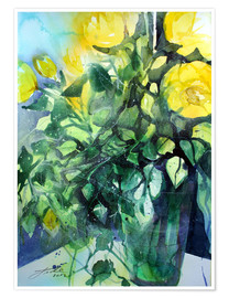 Premium poster Yellow roses with ivy in vase