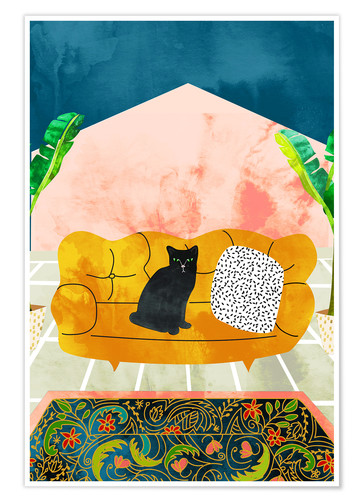 Premium poster Black cat on yellow sofa