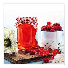 Premium poster Raspberry jam watercolor painting