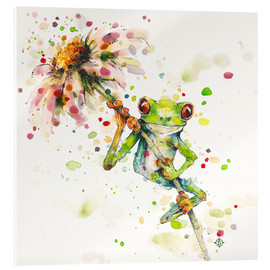 Acrylic print  Hello there, bright eyes (Green tree frog) - Sillier Than Sally