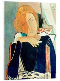 Acrylic print  Inge II, in dark blue with cigarette - Oskar Moll