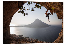 Canvas print  Climber on the Kalymnos island, Greece