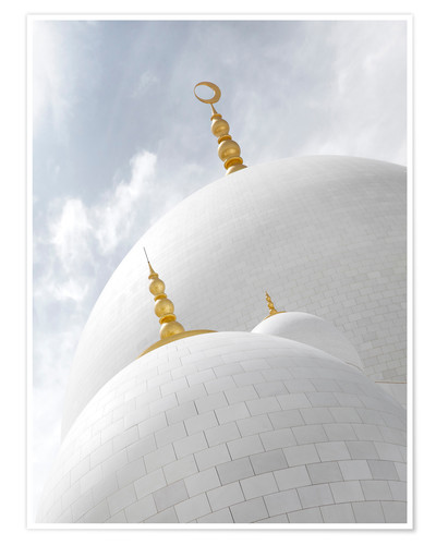 Premium poster white cupolas of sheikh zayed mosque