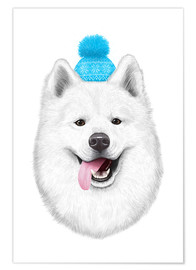 Premium poster Samoyed with bobble hat