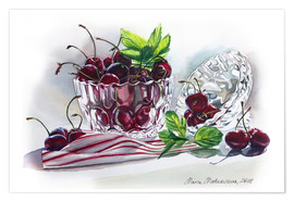Premium poster Watercolor Cherry bowl