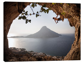 Canvas print  Rock climber on Kalymnos Island