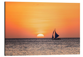 Aluminium print  Sailboat in the sunset