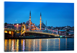 Acrylic print  Galata Bridge at night in Istanbul