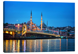 Canvas print  Galata Bridge at night in Istanbul