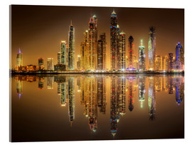 Acrylic print  Reflections in Dubai marina bay