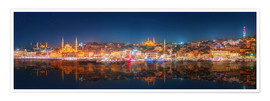 Premium poster  Istanbul and Bosporus at night