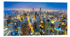 Acrylic print  Night view of Chicago