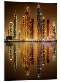 Acrylic print  Lighting the Dubai Marina Bay