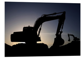 Foam board print  Two excavators