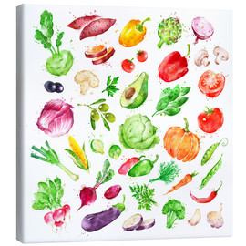 Canvas print  Fruits and vegetables watercolor