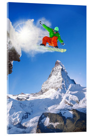 Acrylic print  Snowboarder in front of Matterhorn