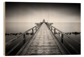 Wood print  Pier Sellin | black-white (Rügen / Baltic Sea) - Kristian Goretzki