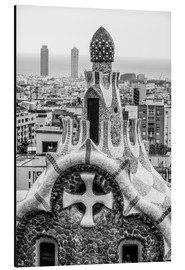Aluminium print  Impressive architecture and mosaic art at Park Guell
