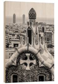 Wood print  Impressive architecture and mosaic art at Park Guell