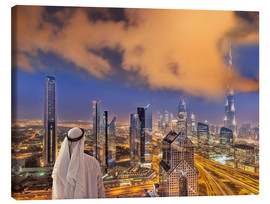 Canvas print  Arab man looks over Dubai