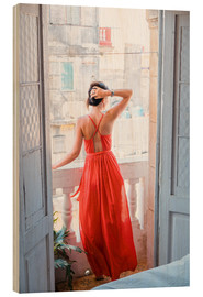 Wood print  Young attractive woman in red dress