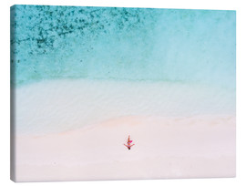 Canvas print  Drone view of woman on the beach, Maldives - Matteo Colombo