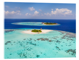 Acrylic print  Aerial view of islands in the Maldives - Matteo Colombo