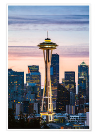 Premium poster  Space Needle at sunrise, Seattle - Matteo Colombo