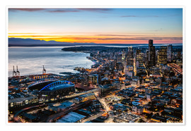 Premium poster  Seattle downtown and harbour at night, USA - Matteo Colombo