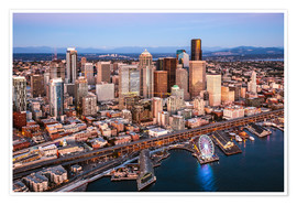 Premium poster  Aerial view of Seattle skyline, USA - Matteo Colombo