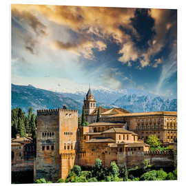 Foam board print  View of the famous Alhambra