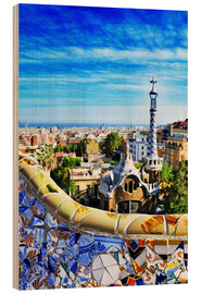 Wood print  Park Guell in Barcelona