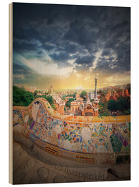 Wood print  The famous park Guell in Barcelona