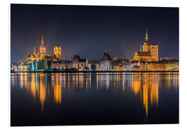 Foam board print  Skyline of Stralsund at night - Kristian Goretzki