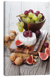 Canvas print  Camembert cheese with figs, nuts and grapes