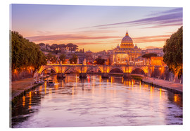 Acrylic print  Skyline of Rome in a magenta dawn