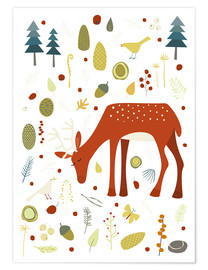 Premium poster  Pretty deer in the autumn forest - Nic Squirrell