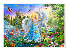 Premium poster  The Princess, the unicorn and the castle - Adrian Chesterman