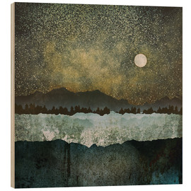 Wood print  Stars , Mountains and Trees - SpaceFrog Designs