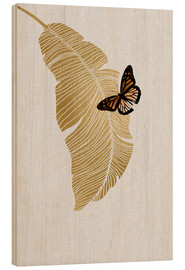 Wood print  Butterfly & Palm - Orara Studio