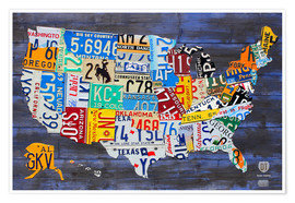 Premium poster  License Plate Map of the USA - Design Turnpike