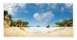 Premium poster Cathedral Cove Beach with Heart Cloud - New Zealand