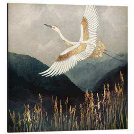 Aluminium print  Elegant Flight of a Crane - SpaceFrog Designs
